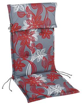 """Stehsaumauflage Sesselauflage """"Lale"""" für Hochlehner 8cm mit Kopfpolster, 120x50x8 cm"""