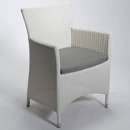 """Sessel """"Throne"""", weiß, 62 x 62 x 85 cm, mit Sitzpolster, Gartenstuhl, Stuhl, Balkon, Garten"""
