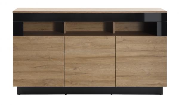 "Sideboard ""Ruby I"" Schwarz Hochglanz Grandson Oak hell Dekor 149x85x43cm Board Wohnzimmer"