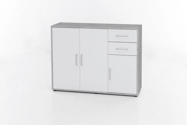 """Kommode """"Sina"""", Beton/weiß, 108 x 85 x 37 cm, 3 Türen, 2 Schubladen"""
