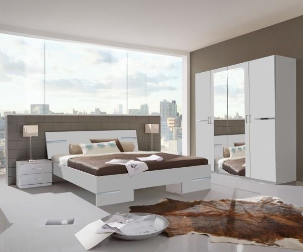 """Schlafzimmer Programm """"Flink Medium"""", Bett, Kleiderschrank u. Nachttische, Alpinweiß"""