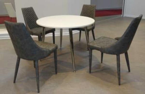 """Tischgruppe Set """"Kanto"""" 4 Stühle Lederoptik grau meliert/ Rundtisch weiss Essgruppe"""