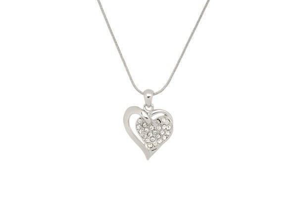 Halskette mit Anhanger zwei verbundener Herzen und Strass Diamanten