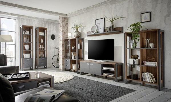 Wohnwand, Schrankwand, Wohnzimmer, Industrie Design, Java Living, Beauty.Scouts, Stirling Oak