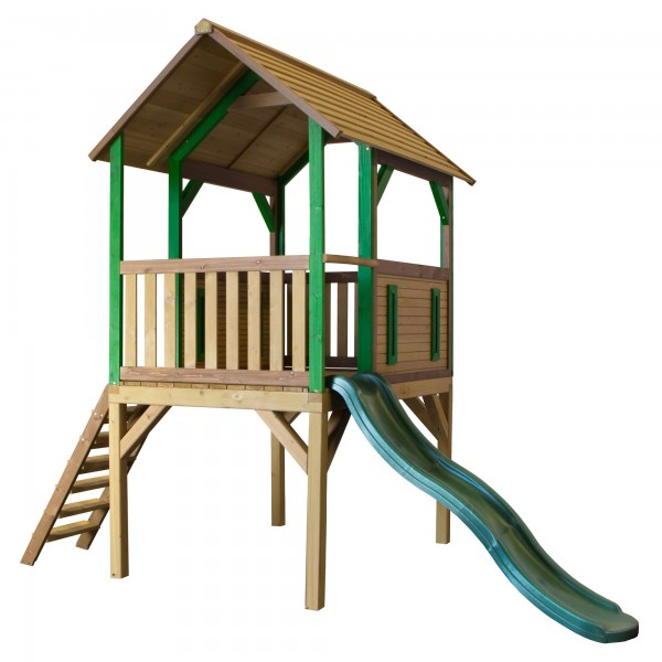 """Holzspielhaus """"Tyson"""" mit Veranda + Leiter + Rutsche 172x318x272cm aus Zedernholz in braun"""
