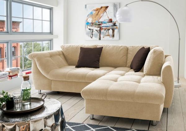 """Ecksofa """"Camille"""" creme 250 x 190 x 84 cm (B/H/T) Wellenunterfederung inkl. Zierkissen Sofa"""