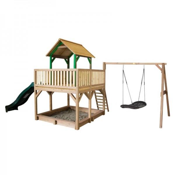 "Spielhaus ""Tafil VII"" Holz in braun-grün 277x613x291cm Rutsche (grün) Nestschaukel oval"