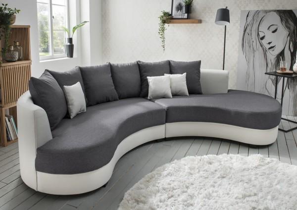 """Nierensofa """"Madeleine"""" grau weiß 306 x 74 x 95 cm (B/H/T) Sofa mit Zierkissen"""