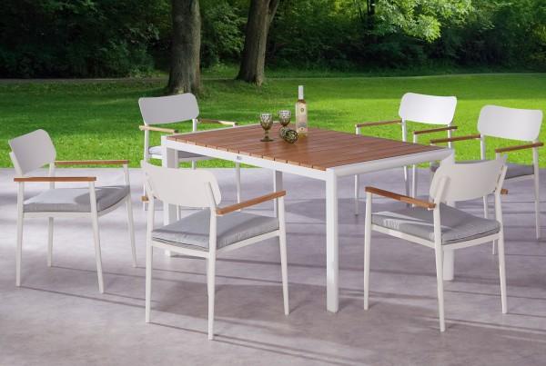 "Gartengruppe ""Arlo"" 13-tlg. weiss/Teak Tisch 160x90cm 6xStapelsessel inkl. Sitzkissen Sitzgruppe"