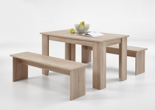 """Sitzgruppe """"Alex"""", Tisch, Sitzbänke, Eiche Nachbildung, 138x74,5x80cm, 138x44,5x37cm"""