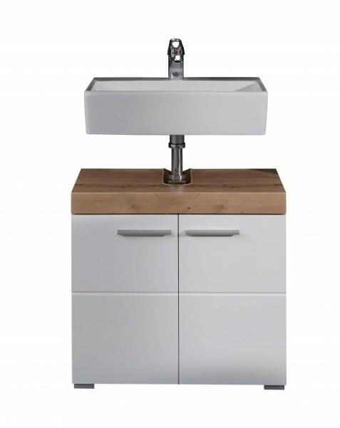 """Waschbeckenunterschrank """"Antonia"""", 60x56x34cm, Asteiche (NB)/weiß HG, Badezimmerschrank, Badezimmer"""