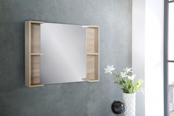 """Spiegel """"Joscha 4"""", Eiche sägerau, 80,5 x 60 x 14 cm, mit 4 Ablagen, Spiegelfläche 52 x 60 cm"""