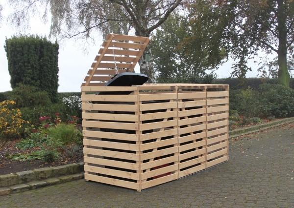 """Erweiterung Mülltonnenbox """"Tim"""", 70 x 92 x 122 cm, natur, Kiefer, mit Deckel, für je 1 Tonne, Garten"""