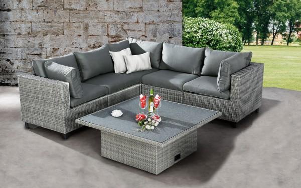"Lounge Gruppe ""Dayton"" 6-tlg. Aluminiumgeflecht grau höhenverstellbar Gartenset Sitzgruppe"