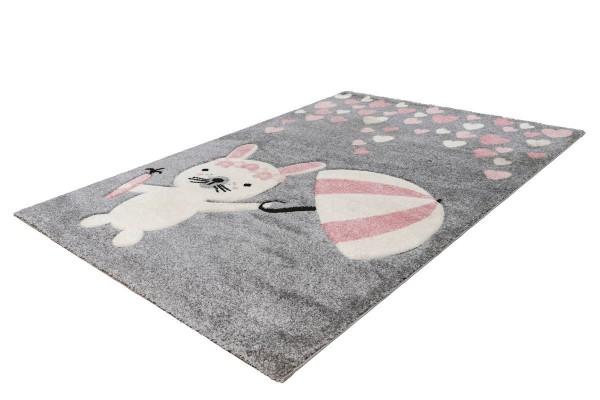 """Kinderteppich """"Mimi"""" rosa 80x150cm 120x170cm Teppich Kurzflorteppich Spielteppich"""