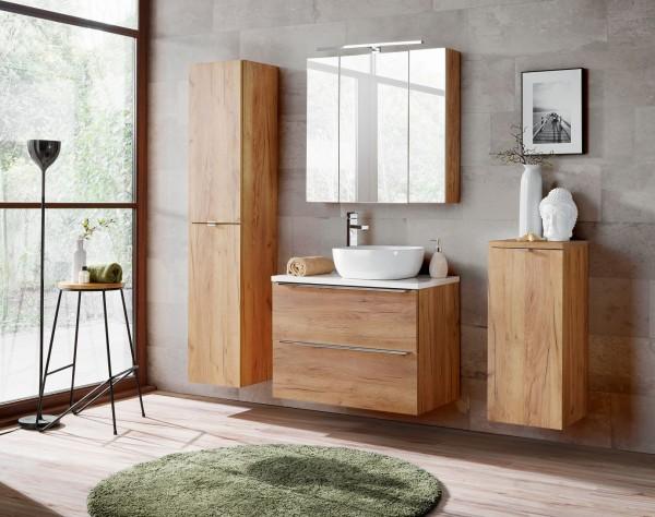 """Badmöbelset """"Melbourne IV"""" Gold Craft Oak 6-teilig, Badezimmerset, Badezimmer inkl. Beleuchtung mode"""
