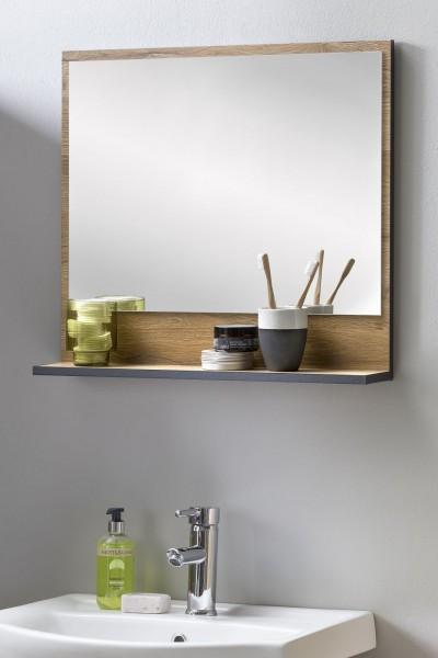 """Spiegel mit Ablage """"Maria"""" Alteiche Holznachbildung Graphit 54 x 11 x 60 cm (B/T/H) Badspiegel"""