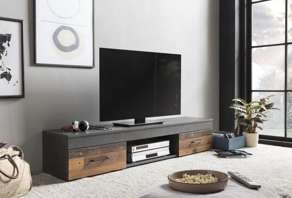 """TV-Lowboard """"Frank 14"""", Graphit/Old Wood, 160 x 31 x 33 cm, 2 Schubkästen, 1 offenes Fach"""