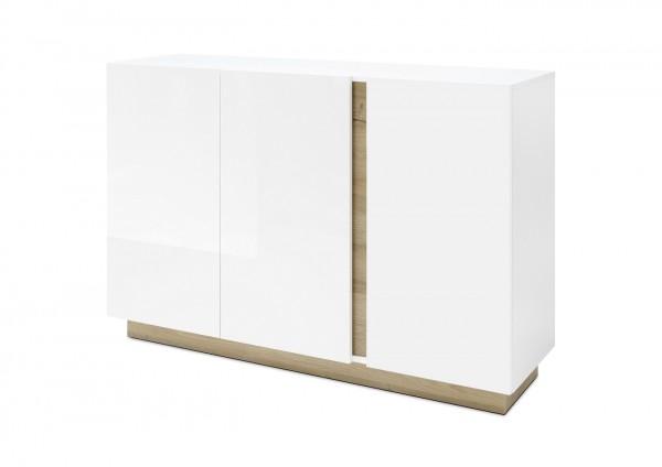 "Sideboard ""Fresh II"" weiß Hochglanz Grandson Oak Dekor 138x91x40cm Kommode"