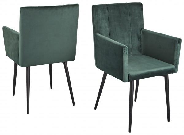 """2er-Set Stuhl """"Estelle Pro"""", schwarz/moosgrün, 57 x 92 x 60 cm, Küchenstuhl, Esszimmerstuhl, Küche"""