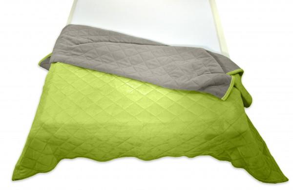 """Tagesdecke """"Bella"""" grün Wendeoptik Rautensteppung Polyester Microfaser-Nicky Plüsch 220x240cm"""