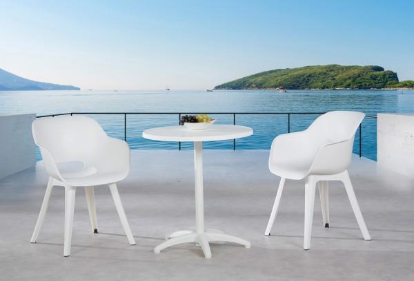"Balkon-Set ""Oda"" 3-tlg. Vollkunststoff Tisch Ø70cm 2xSessel Sitzgruppe Balkonsitzgruppe Gartenset"