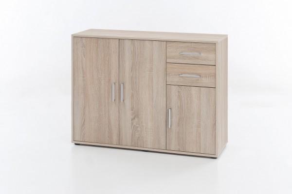 """Kommode """"Sina"""", Eiche sägerau, 108 x 85 x 37 cm, 3 Türen, 2 Schubladen"""