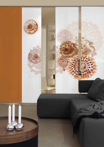 Emotion Textiles Flächenvorhang Schiebevorhang 3er Set Textiles Batikblume braun 180 x 260 cm