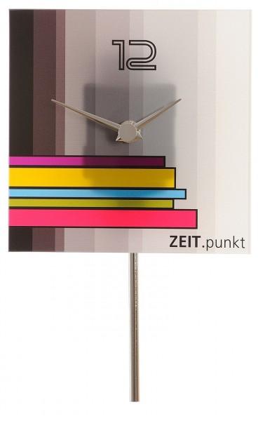 """Wandpendeluhr Quartzuhr """"Karima"""", Stabpendel, Mineralglas, bedruckt, Küche, Esszimmer, Flur, 14x23x5cm"""