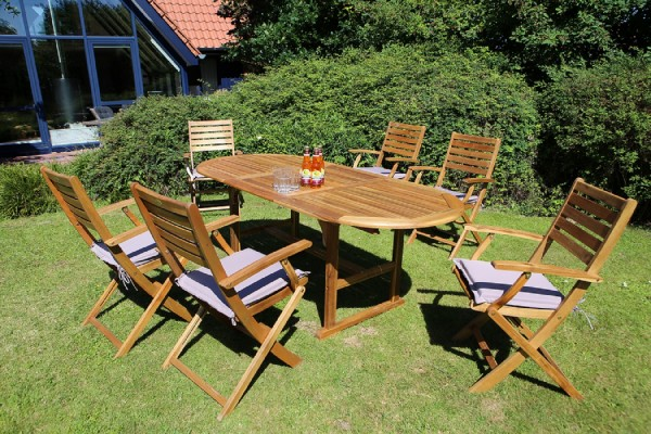 """Gartensitzgruppe """"Lana"""", Akazie, 7er-Set, inkl. Sitzkissen, 1 Tisch, 6 Klappsessel, Garten, Terrasse"""
