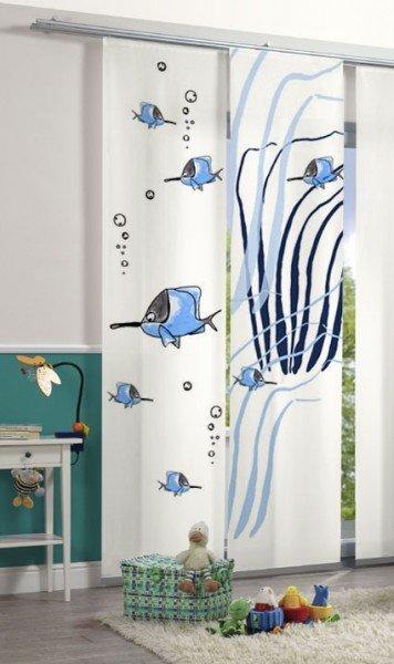 Emotion Textiles Flächenvorhang Schiebevorhang Meer Blau 2-er Set incl. Montagesatz