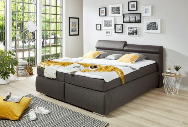 """Boxspring-Bett """"Lui I"""" 180x200cm, mit Bettkasten, braun lavafarbig, Wendematratze, verschiedene Ausführung"""