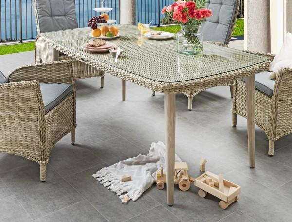 """Tisch """"Santos"""", beige/weiß, 178 x 98 x 75 cm, Beine grau, Gartentisch, Balkontisch, Garten"""