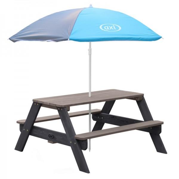 """Kinder Picknick Set """"Jorden II"""" Hemlock Holz in anthrazit 95x98x49cm Picknicktisch mit Sonnenschirm"""
