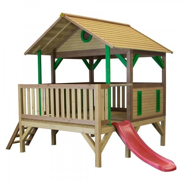 """Holzspielhaus """"Taavi"""" mit Veranda + Leiter + Rutsche 212x349x233cm aus Zedernholz in braun"""