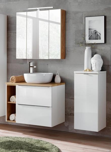 "Badmöbelset ""Melbourne XXII"" weiß 6-teilig, Badezimmerset, Badezimmer inkl. Beleuchtung modern"