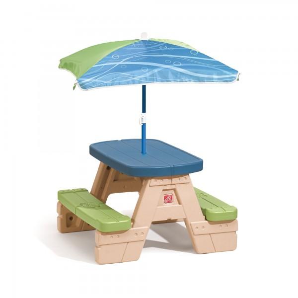 """Picknick-Set """"Juli"""" aus Kunststoff mit Sonnenschirm in braun blau grün 73,7x70,5x46,4cm Picknicktisch"""