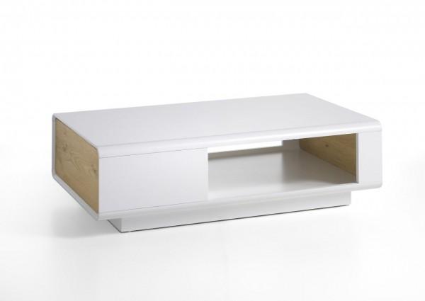 """Couchtisch """"Barcelona"""" - Tisch Matt weiss und Asteiche Schublade Rollen 110x32x70 30 kg"""