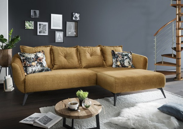 "Ecksofa ""Mary"" Gelb Blume dunkel 277 x 80/94 x 162 cm (B/H/T) 100% Polyester Metallbeine"