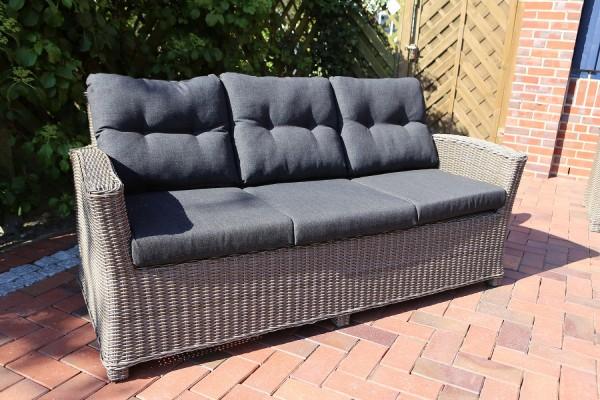 """3er-Sofa """"Auckland"""", vintage grau, 78 x 183 x 84 cm, mit Polster anthrazit, Loungesofa, Garten"""