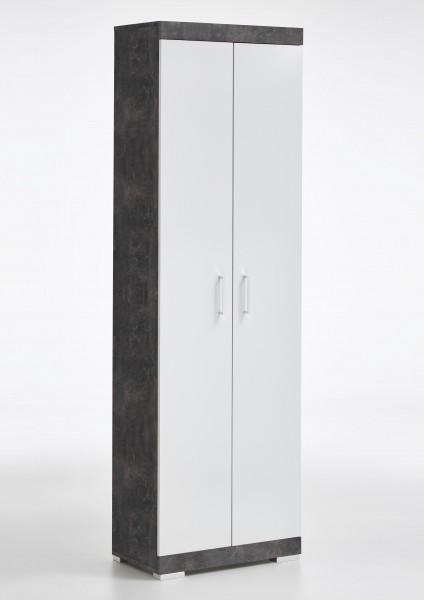 """Garderobenhochschrank """"Fanco 1"""" Beton dunkel weiß Edelglanz 60x195x35cm Schrank"""