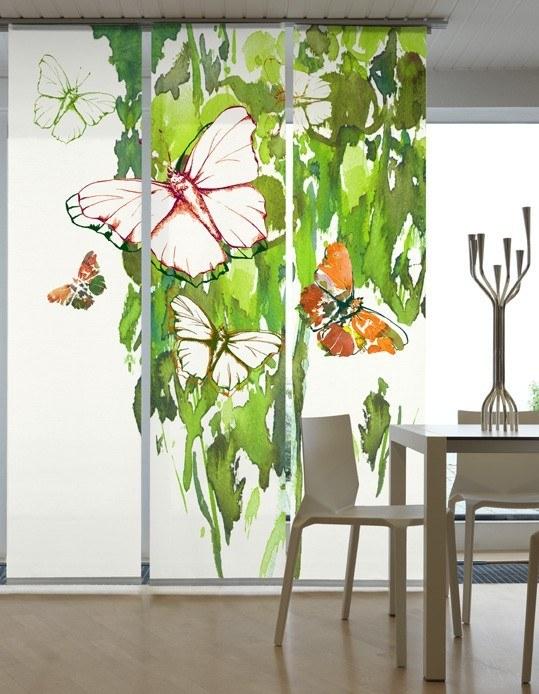 fl chenvorhang schiebevorhang 3er set butterfly gr n inkl montagesatz schiebevorh nge motiv. Black Bedroom Furniture Sets. Home Design Ideas