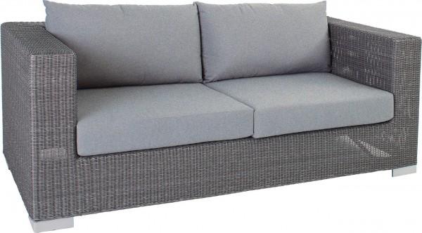 """2er Sofa """"Mayfair grau meliert"""" Aluminiumgestell Rattan 87x174x65 Gartensofa, Loungemöbel ink Kissen"""