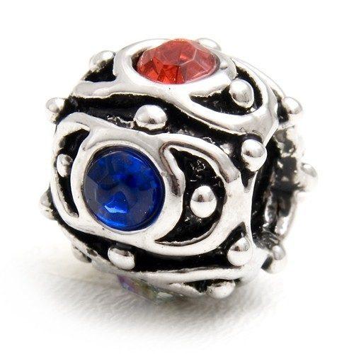 Bead mit roten und blauen Steinen