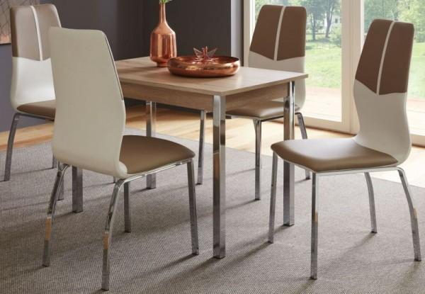 """Tischgruppe Set """"Alteria"""" 4 Stühle Cappuccino/weiss/ Tisch Buche Dekor Essgruppe"""