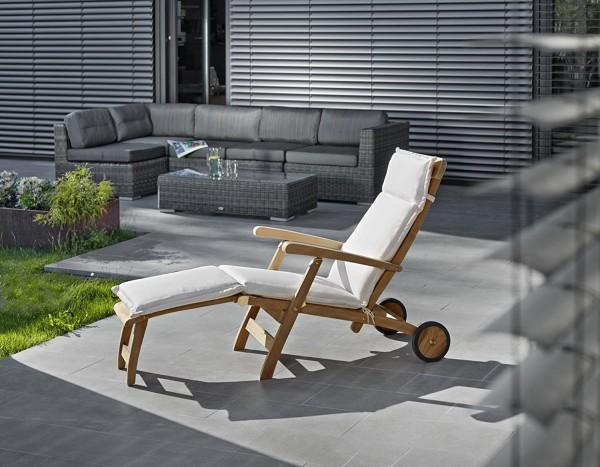 """Teak-Deckchair """"DELUXE"""" mit Rädern und Polster sand"""