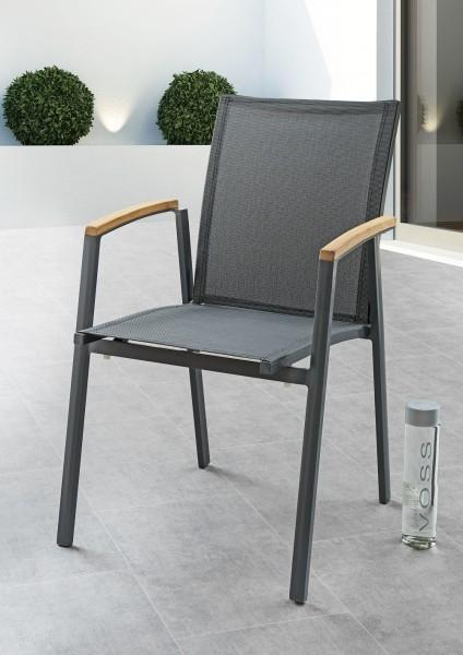 """Stapelsessel """"Nico"""", Aluminium/Sling, anthrazit, 56 x 64 x 98 cm, Gartenstuhl, Stuhl, Garten"""