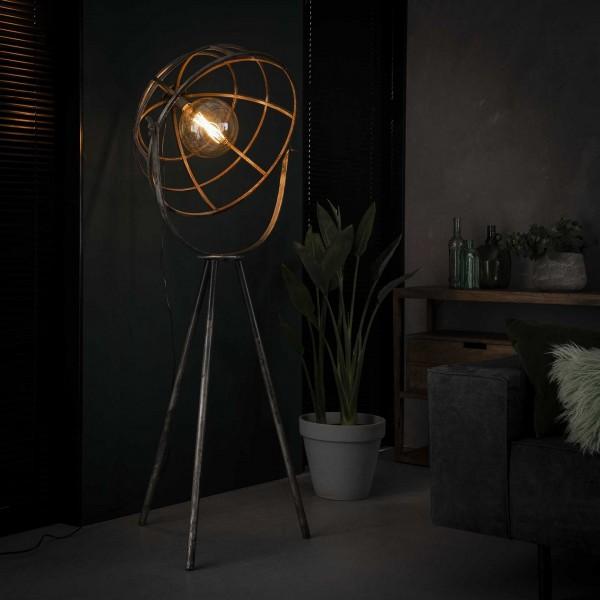 """Stehlampe """"Gamsen"""" schwarz pulverbeschichtet 72x72x165cm (B/T/H) Industrial Style Zijlstra"""