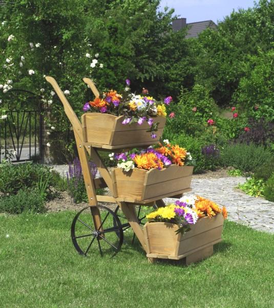 """Blumekarre """"Magarete"""", honigbraun, 68x88x106cm, Kiefer, 3er Blumekasten, Rädern, Blumendeko, Garten"""
