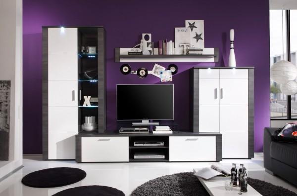 """Wohnwand """"Tess"""", Wohnzimmermöbel, Esche grau, weiß, inkl. Beleuchtung, 4-teilig, 308x197x51cm"""